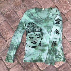 Lucky brand green tie-dye thermal Buddha L